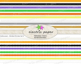 Halloween Colors Digital Borders / Dividers Clip Art Set  -  can be layered - Instant Download