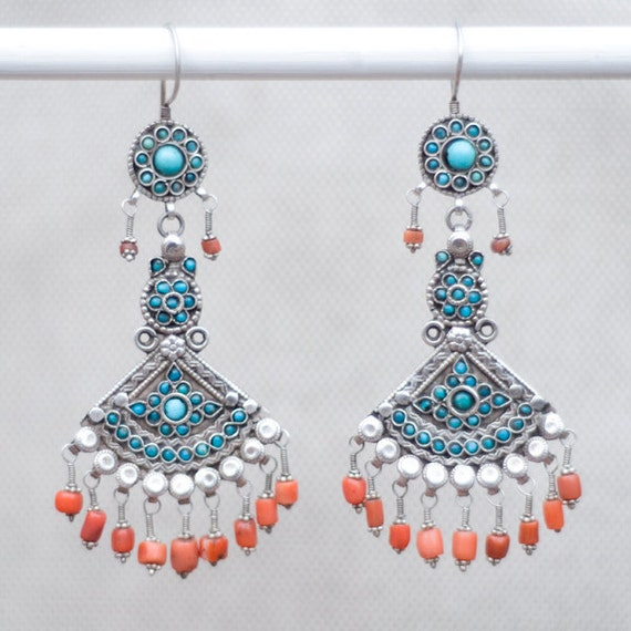 Turkmen antique silver, turquoise, and coral earrings (layaway available)