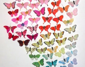 132 Pc 3 Inch Wedding Butterflies Assortment SALE PRICE!! Feather Butterflies for Weddings, Parties, Decorating, Bouquets and Costumes