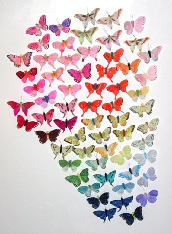 132 Pc 3 Inch Wedding  Feather Butterflies Assortment NOW SALE PRICE!!