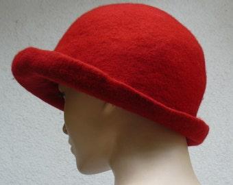 Felt Hat Handmade Merino wool - Red