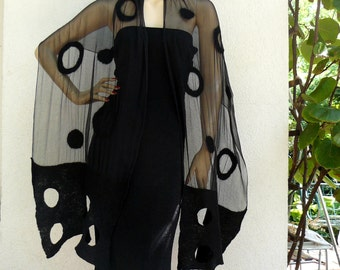 Nuno felted black scarves, shawl Felted silk and wool,  Holoday fashion, with polka dots