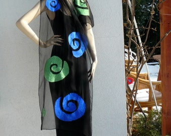 Nuno felted scarf  - silk and merino wool  Black Green and Blue