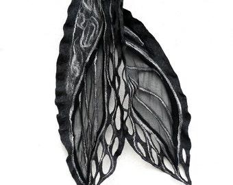 Felted Scarf merino wool silk Hand dyed Nuno felting  - Black, gray and white. Orange Gift brooch