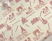 """L002A - Cotton Linen Fabric - I Love Paris - Red - Fat quarter - 21"""" x 19"""" (55x50cm)"""
