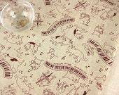 """L316A - Cotton Linen Fabric - Cat Musicians - purple - Fat Quarter  - 27"""" x 19""""(70 x 50cm)"""