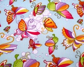 "W051A  - Vinyl Waterproof Fabric - butterfly - Light blue - 27""x19""(70cmX50cm)"