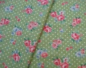"L339A -  Cotton Linen Fabric - Rose and dot on green - 27"" x 19""(70 x 50cm)"