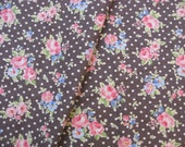 """L339C -  Cotton Linen Fabric - Rose and dot on Coffee  - 27"""" x 19""""(70 x 50cm)"""