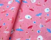 """L355A - Cotton Linen Fabric  - Ballerina - pink   - 27"""" x 19""""(70 x 50cm)"""