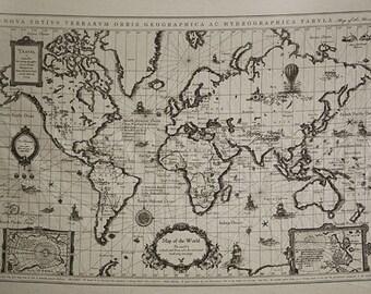 L901 - 2 pieces Retro Cotton Linen Fabric - Antique World Map - 145cm x 71cm