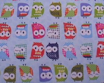 "W066B - Vinyl Waterproof Fabric - Owls - Light blue - 27"" x 19"" (70cm x 50cm)"