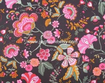 "W073C - Vinyl Waterproof Fabric - Beautiful flower on black - 27"" x 19"" (70cm x 50cm)"