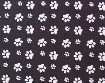 """W059B  - Vinyl Waterproof Fabric - Footprint  - Black - Fat aquarter 27"""" x 19"""" (70cm x 50cm)"""