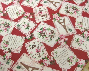 """L326A -  Cotton Linen Fabric - Rose and tower - red - 27"""" x 19""""(70 x 50cm)"""