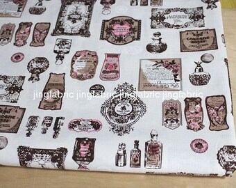 "L329B -  Cotton Linen Fabric - Perfume bottle - coffee  - 27"" x 19""(70 x 50cm)"