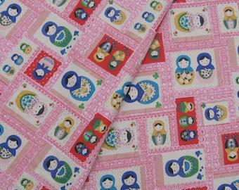 "L008A - Cotton Linen Fabric - Matryoshka Doll - red - Fat quarter - 21"" x 19"" (55x50cm)"