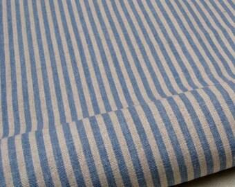 """L313A - Cotton Linen Fabric - Stripe - Blue - Fat Quarter  - 27"""" x 19""""(70 x 50cm)"""