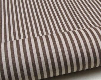"""L313D - Cotton Linen Fabric - Stripe - Brown - Fat Quarter  - 27"""" x 19""""(70 x 50cm)"""