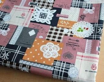 """L020A - Cotton Linen Fabric - Lace And Patchwork  - brown - Fat quarter - 21"""" x 19"""" (55x50cm)"""