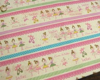 """L328B - Cotton Linen Fabric - Ballet girl - lace - pink - Fat Quarter  - 27"""" x 19""""(70 x 50cm)"""