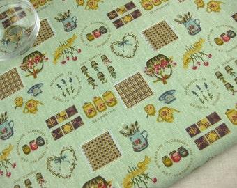 "L319C - Cotton Linen Fabric - Zakka In The Courtyard - green - Fat Quarter  - 27"" x 19""(70 x 50cm)"