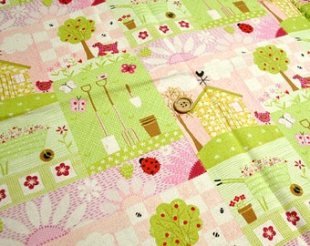 "L303A - Cotton Linen Fabric - Garden - green and pink)- 27"" x 19""(70 x 50cm)"