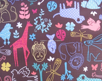 "W077B - Vinyl Waterproof Fabric - Animals - brown  - 27""x19""(70cmX50cm)"