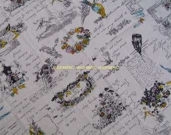 "L335A -  Cotton Linen Fabric - Swallow and garland on white- 27"" x 19""(70 x 50cm)"