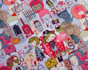 "W092A - Vinyl Waterproof Fabric -Cartoon Characters - girl/bag  - 27""x19""(70cmX50cm)"