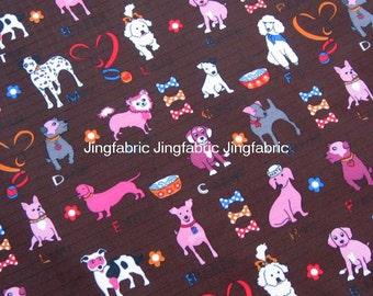 "W094B - Vinyl Waterproof Fabric - Lovely dogs - Deep brown   -  27""x19""(70cmX50cm)"
