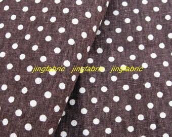 "L343D  -  Cotton Linen Fabric - Stripe - Dots on Chocolate  -  27"" x 19""(70 x 50cm)"