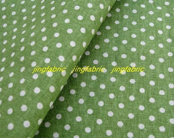 "L343F  -  Cotton Linen Fabric - Stripe - Dots on Green  -  27"" x 19""(70 x 50cm)"