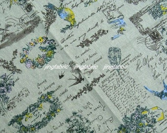 "L335D -  Cotton Linen Fabric - Swallow and garland on blue-green - 27"" x 19""(70 x 50cm)"