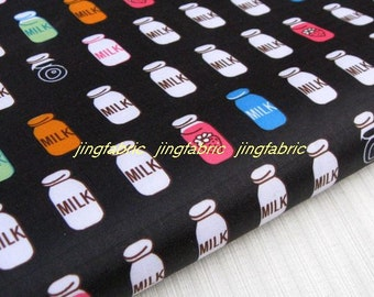 "W101C  - Vinyl Waterproof Fabric - Milk bottle  -black - 27"" x 19"" (70cm x 50cm)"