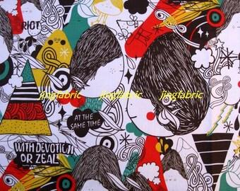 "W142A  - Vinyl Waterproof Fabric - Cartoon  - Girl  - Black  - 27""x19""(70cmX50cm)"