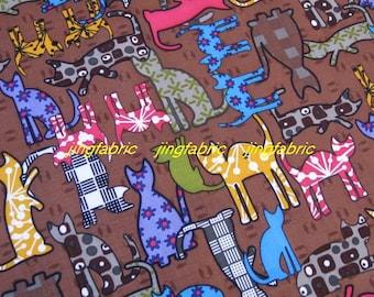 W154A  - 1 meter Vinyl Waterproof Fabric - Lovely cat  - Brown