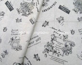 "L360B  - Cotton Linen Fabric - Nature Lover's Library - black - 27"" x 19""(70 x 50cm)"