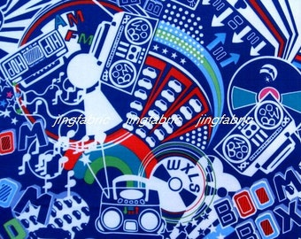 "W168A  - Vinyl Waterproof Fabric - Cartoon - baby - Navy blue -  27""x19""(70cmX50cm)"