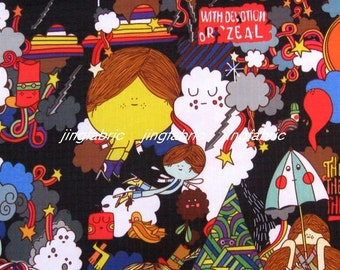 "W169B  - Vinyl Waterproof Fabric - Cartoon - girl / flower / umbrela - black -  27""x19""(70cmX50cm)"