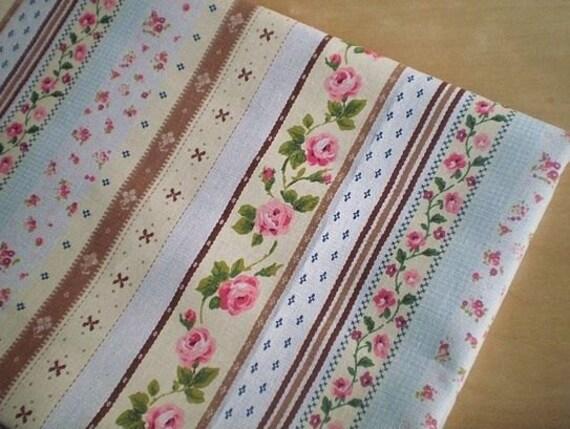 """L318C - Cotton linen blend fabric - Stripe - Rose (brown) - Fat Quarter  - 27"""" x 19""""(70 x 50cm)"""