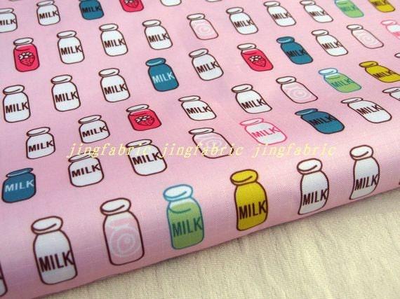 """W101A  - Vinyl Waterproof Fabric - Milk bottle - pink  - 27"""" x 19"""" (70cm x 50cm)"""