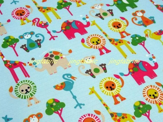 "W125B  -  Vinyl Waterproof Fabric - Deer  elephant lion monkey on light blue  - 27""x19""(70cmX50cm)"