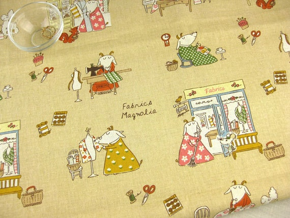 "L357C - Cotton Linen Fabric - Handmade Life of  Goat Drucker Couple  - Light grey yellow - 27"" x 19""(70 x 50cm)"
