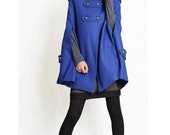 BLUE winter cape, Wool hoodie cape, double breasted hooded coat, winter cloak with hood , 70% wool , Size XS (FM003D)
