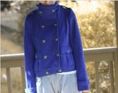 fleece jacket / spring sweatshirt/Military double breasted Jacket / rich blue loyal blue  Fleece / Shirt