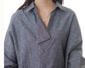 oversized blouse long sleeves bat sleeves Jean shirt LINEN washed FM128