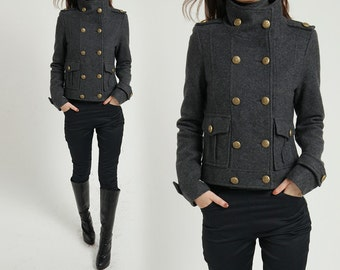 Winter coat wool coat cashmere coat gray coat grey coat double breasted coat military coat/winter   jacket woollen coat short  (  (FM017)