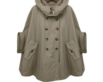 Green cape,hoodie trench coat with double breasted button,army green,Hooded cloak ,100% cotton, Women clothing (FM024)