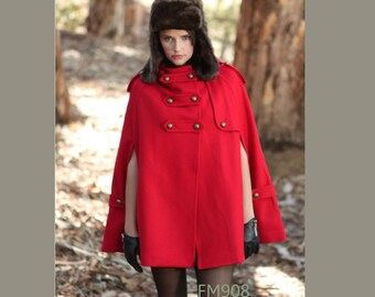 RED winter cape, Wool hoodie cape, double breasted hooded coat, winter cloak with hood , 70% wool  (FM003C)--Size S